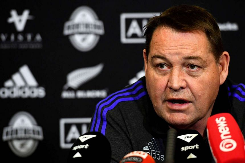 New Zealand's head coach Steve Hansen speaking during a press conference from his hotel in Neuilly sur Seine, near Paris.