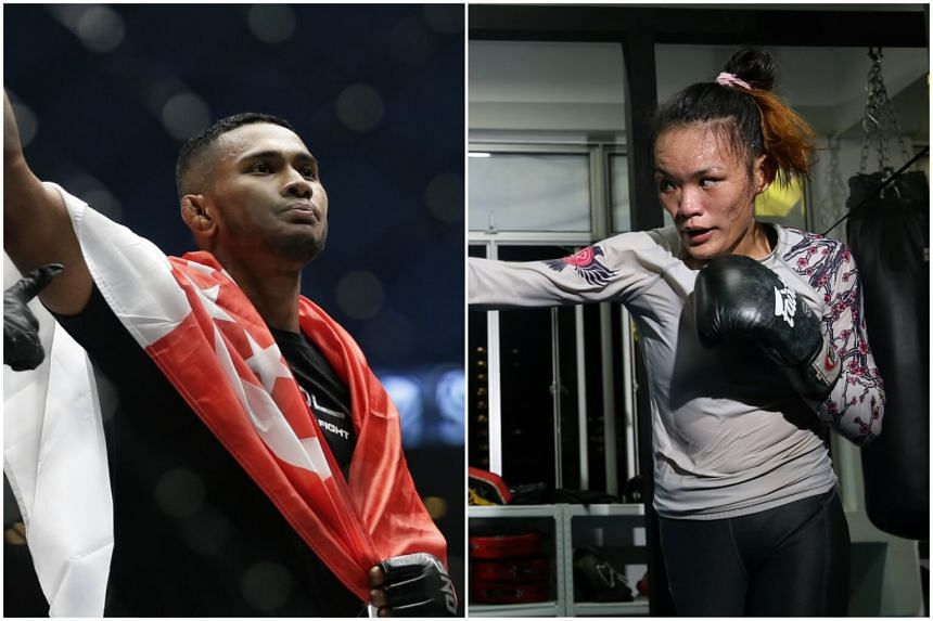 Singapore's MMA fighter Amir Khan (left) and Tiffany Teo (right) won their respective bouts at One Championship's Dynasty of Heroes event on May 26.