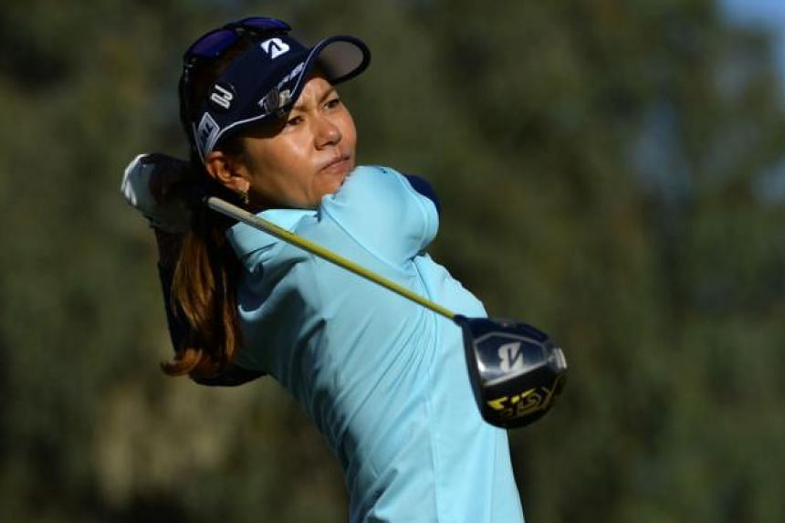 Ai Miyazato of Japan makes a tee shot on the 13th hole during the completion of the second round of the ANA Inspiration on the Dinah Shore Tournament Course at Mission Hills Country Club on April 1, 2017 in Rancho Mirage, California.
