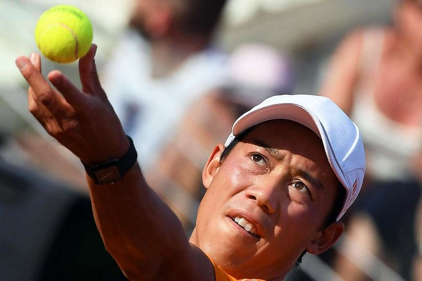 Nishikori (above, in a file photo) set up a semi-final clash with Mischa Zverev on Friday..