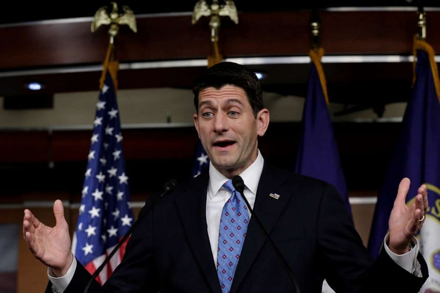 US House Speaker Paul Ryan speaks during his weekly press conference on Capitol Hill in Washington.