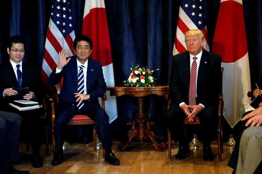 President Donald Trump and Japanese Prime Minister Shinzo Abe at a bilateral meeting at the G-7 summit in Taormina.