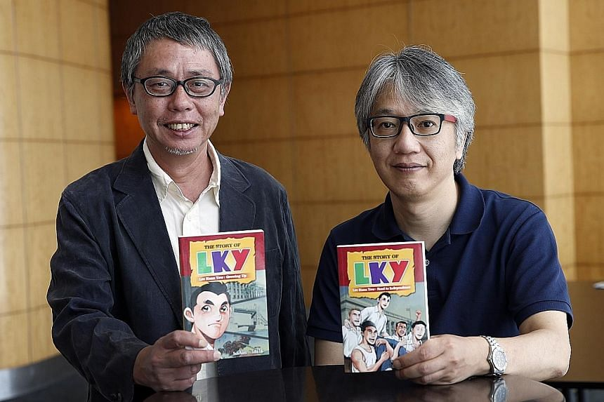 Author Yoshio Nabeta (top) and illustrator Toshiki Takii yesterday released a double-volume comic book on the life of Mr Lee Kuan Yew.