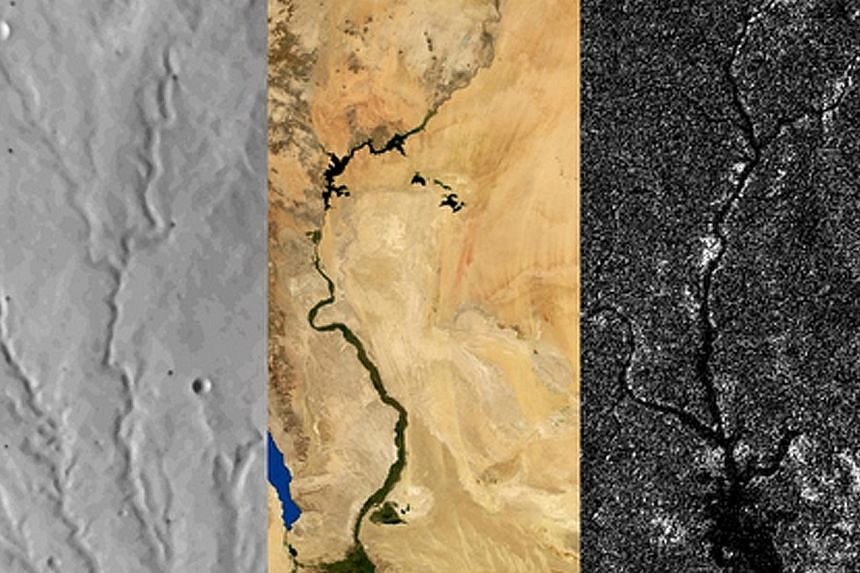 These are river networks on Mars, Earth and Titan. From top to bottom, the images span 100km on Mars, 2,000km on Earth and 400km on Titan. The surfaces of Earth, Mars and Titan, Saturn's largest moon, have all been scoured by rivers. Yet despite the