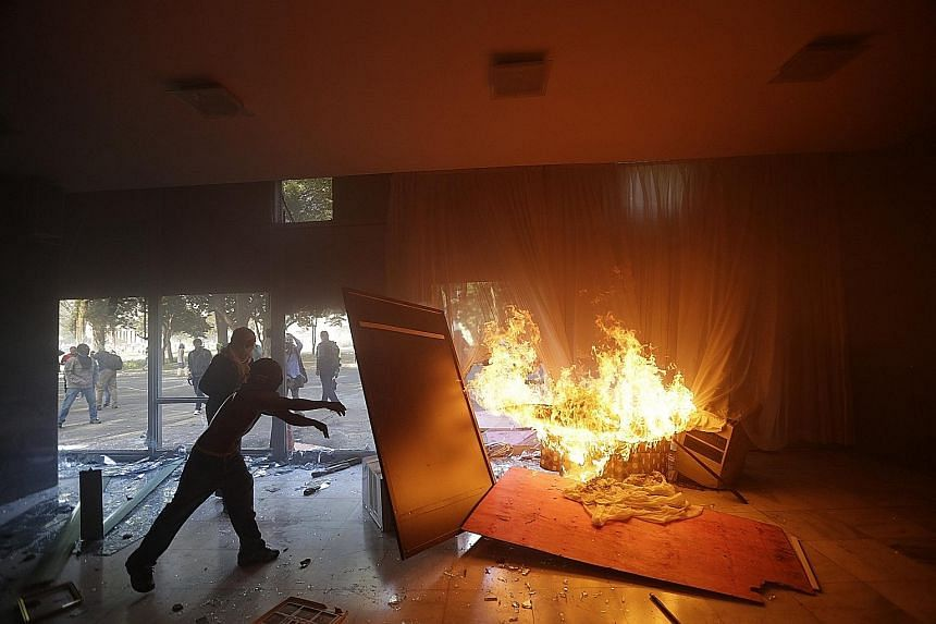 The Agriculture Ministry was one of the government buildings trashed during protests in Brasilia on Wednesday.