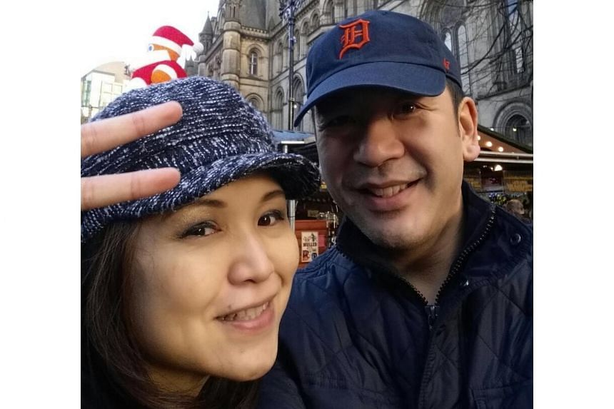 Ms Leong and her husband at Albert Square where a vigil was held for the victims in the Manchester Arena attack.