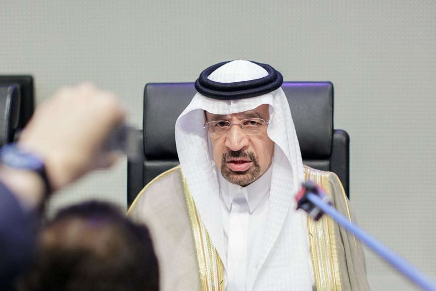 Saudi Arabian Energy, Industry and Mineral Resources Minister Khalid Al-Falih speaks to journalists at the Opec headquarters in Vienna, Austria, May 25, 2017.