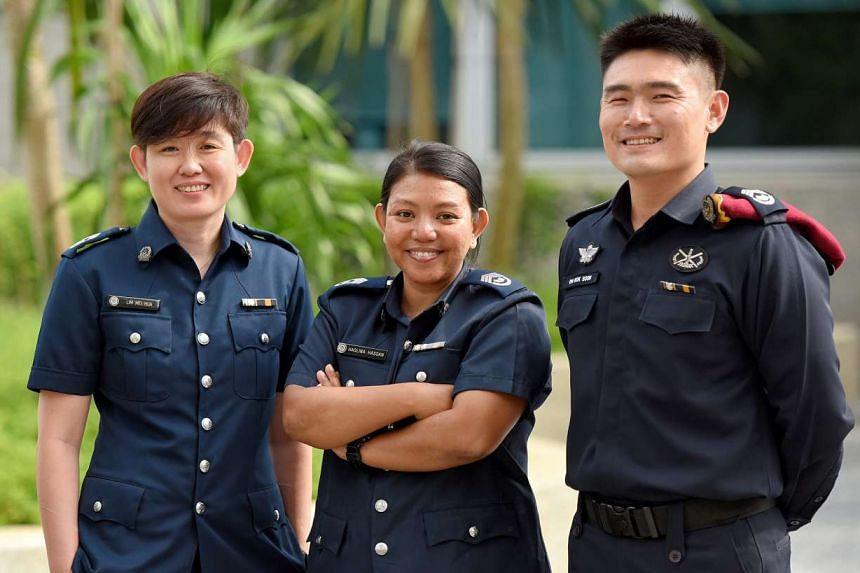 (From left) Station Inspector Jakki Lim, Senior Station Inspector Haslina Hassan and Senior Station Inspector Oh Kok Soon will also be promoted to inspector next month. From July, the scheme will be implemented in other Home Team departments, such as