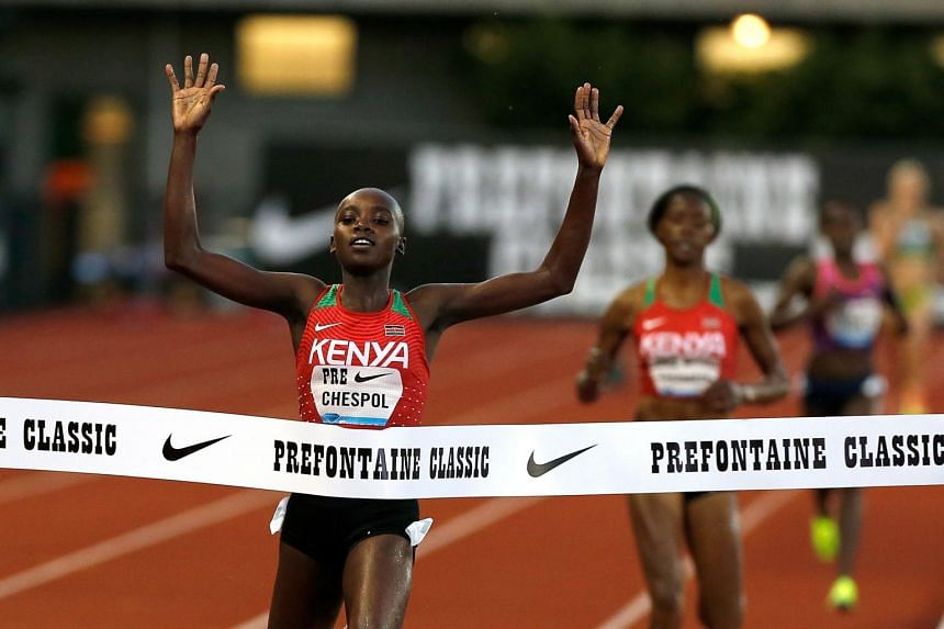 Celliphine Chespol of Ethiopia wins the 3000m Steeplechase during the 2017 Prefontaine Classic Diamond Leagueat Hayward Field on May 26, 2017 in Eugene, Oregon.