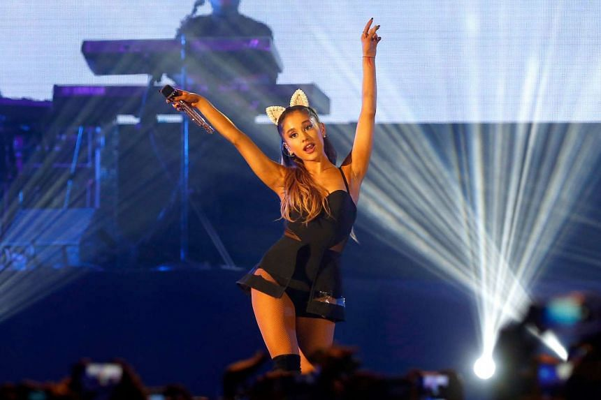 Ariana Grande performing in Jakarta, Indonesia, in a  2015 file photo.