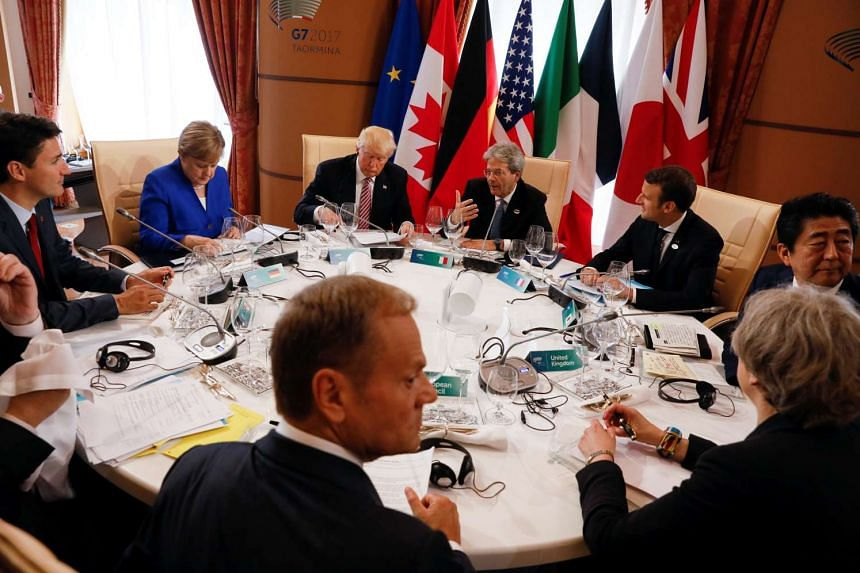 Leaders gathered at the G-7 Summit in Taormina, Sicily, May 26, 2017.
