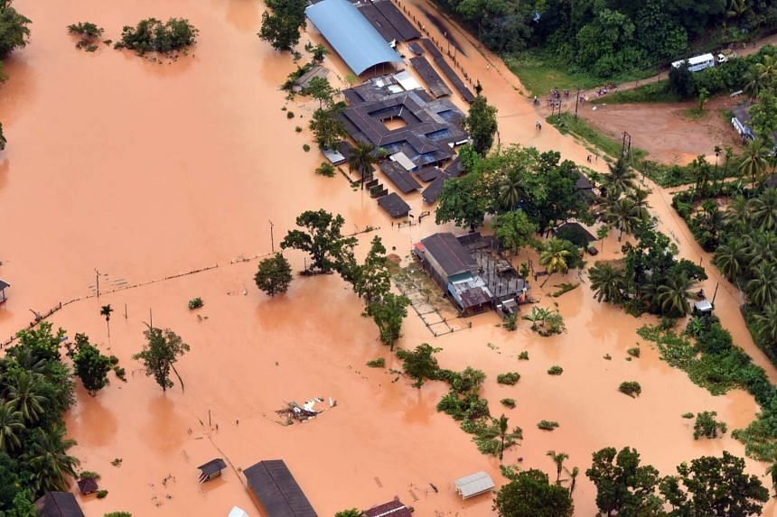 A photo made available by the Air Force Media division shows a flooded area at Kaluthara, 80km from Colombo, Sri Lanka, on May 26, 2017.