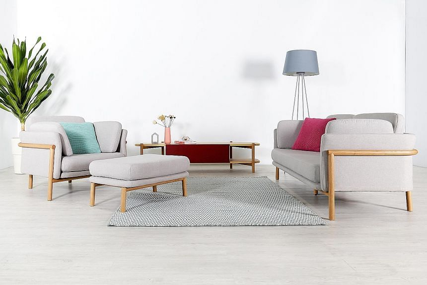 The Castlery Feat series includes the Bambu Collection (above) by Yonoh studio, Gable Armchair (far left) by Charles Wilson and Lily Collection (left) by James Harrison.