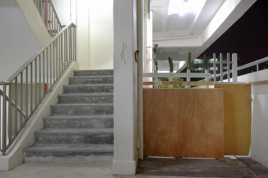 "Residents at this Yishun flat have built a ""wall"" barbed with cacti to keep out a neighbour who has been splashing oil mixed with urine across their door and along the corridor in the early hours nearly every day. Balls of toilet paper and used sanit"