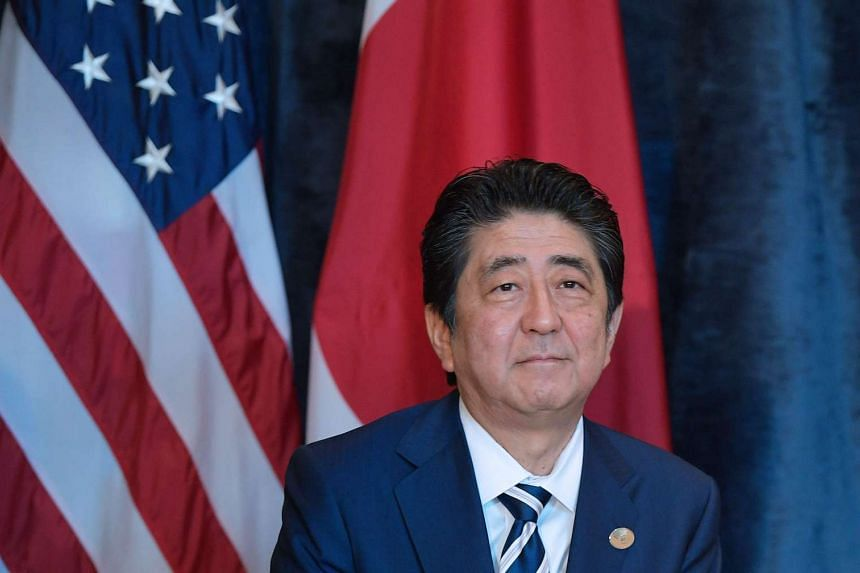 Prime Minister Shinzo Abe  on the sidelines of the G7 Summit in Taormina, Sicily, on May 26, 2017.