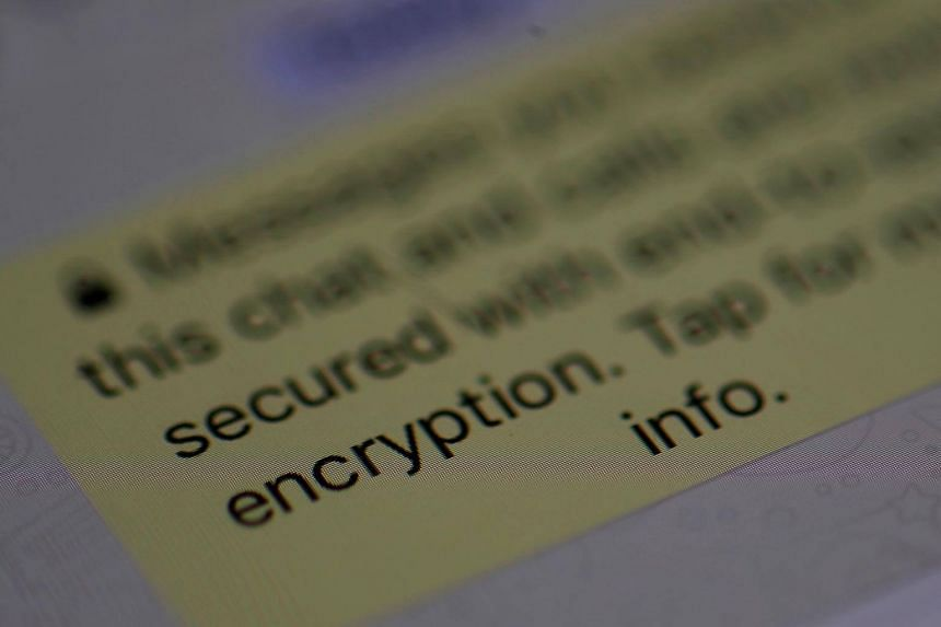 An encryption message on the WhatsApp application on an iPhone. Companies such as WhatsApp say are unable to break the encryption in their software, to the frustration of law enforcement agencies.