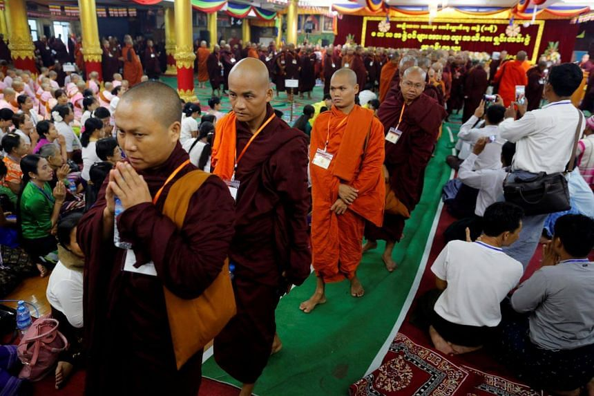 Buddhist monks from the Ma Ba Tha group attend a meeting to celebrate their anniversary with a nationwide conference in Yangon, Myanmar on May 27.