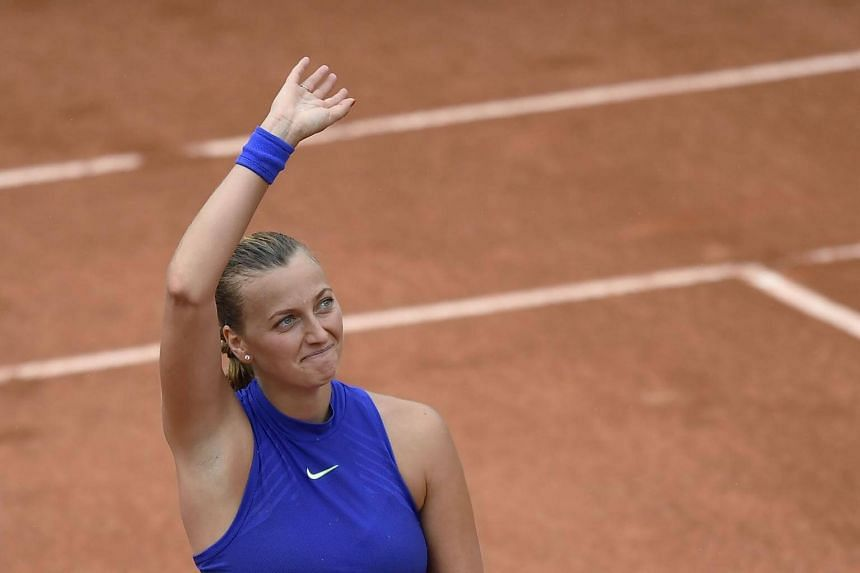 Petra Kvitova celebrating after winning her qualification round match against Julia Boserup on May 28, 2017.