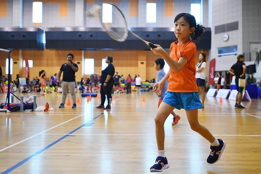 Jo-en Lam, seven, playing badminton at the launch of SBA Badminton Academy at Pasir Ris Sports Centre on May 27, 2017.