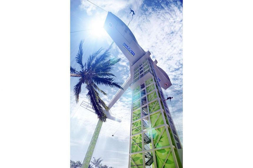An artist's impression of the bungee tower at Siloso Beach in Sentosa.