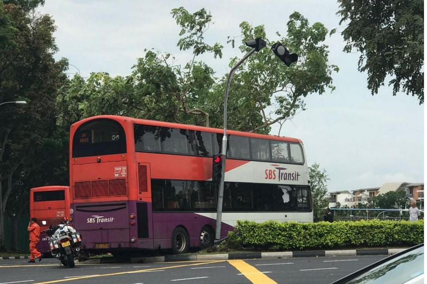 A bus and a taxi crashed at the junction of Hougang Avenue 2 and Yio Chu Kang Road.