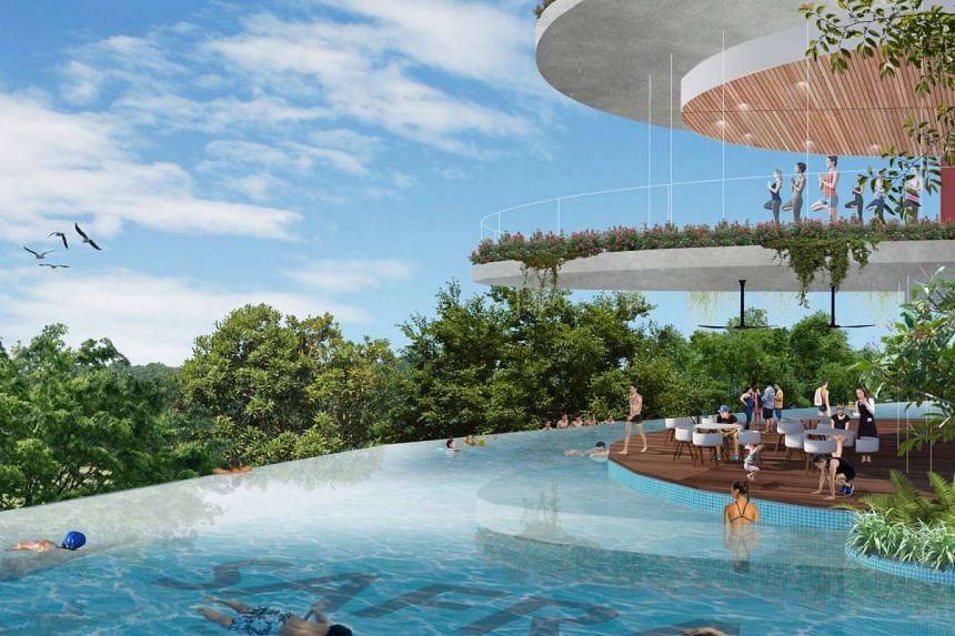 A concept impression of the swimming pool at the new Choa Chu Kang Safra clubhouse.