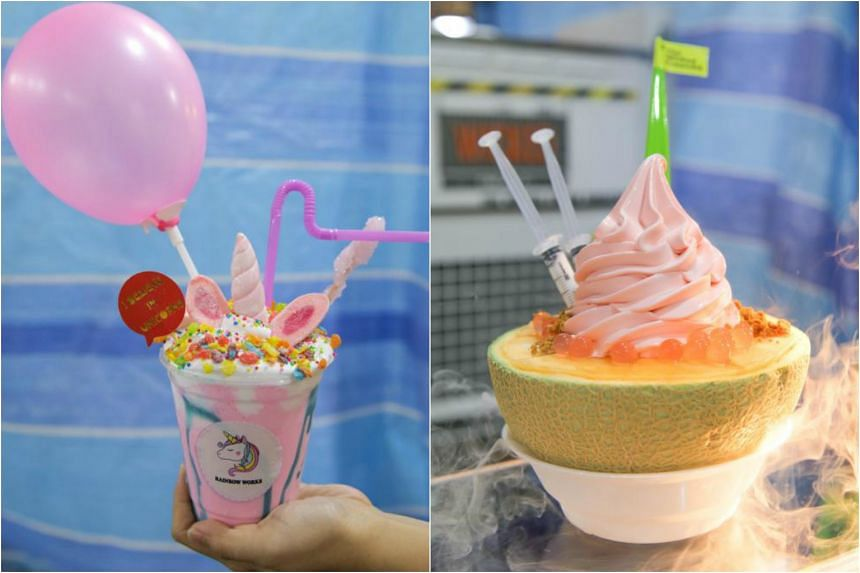 The Starlite Drink and Rock Melon Bowl, from Rainbow Works and The Wicked Cream Singapore respectively.