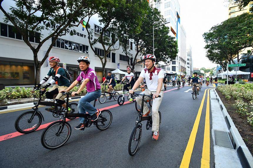 Cyclists on Bencoolen Street.