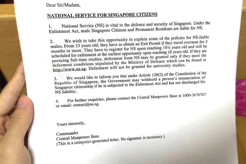 A photo of the letter which the Ministry of Defence has been giving to parents of newborn sons, reminding them of their son's National Service liabilities.