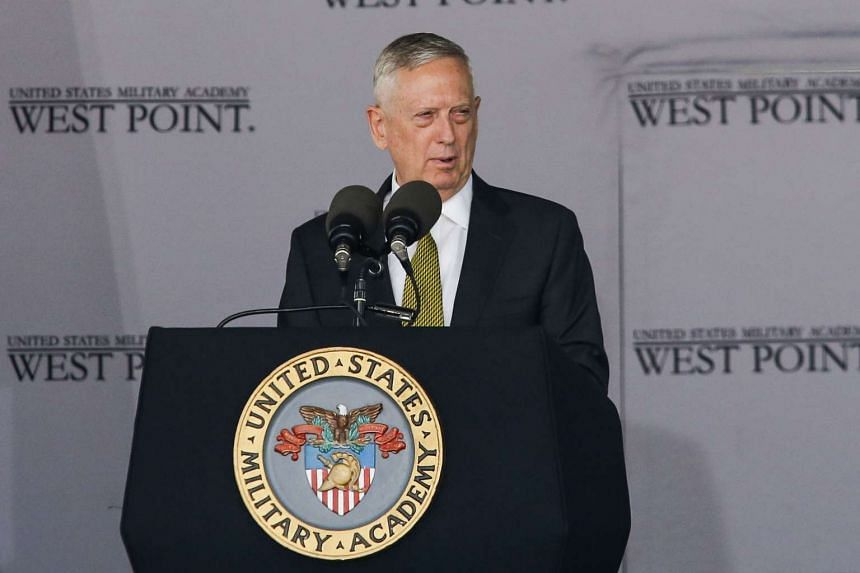 US Defense Secretary Jim Mattis speaks to West Point graduates during the US Military Academy Class of 2017 graduation ceremony at Michie Stadium on May 27, 2017 in West Point, New York.
