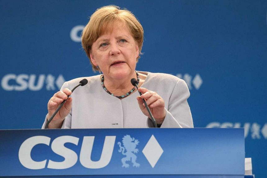 German Chancellor Angela Merkel delivers a speech during a joint campaigning event of the Christian Democratic Union and the Christian Social Union in Munich on May 27, 2017.