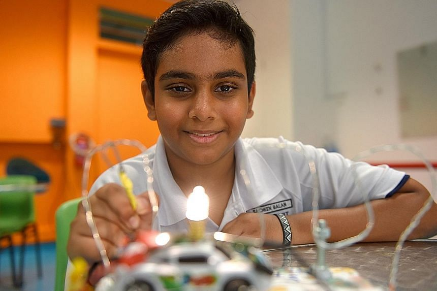 Sacheen Balan wired up this toy over three days. The electrical whizz-kid is now working on an electricity-powered Ferris wheel.