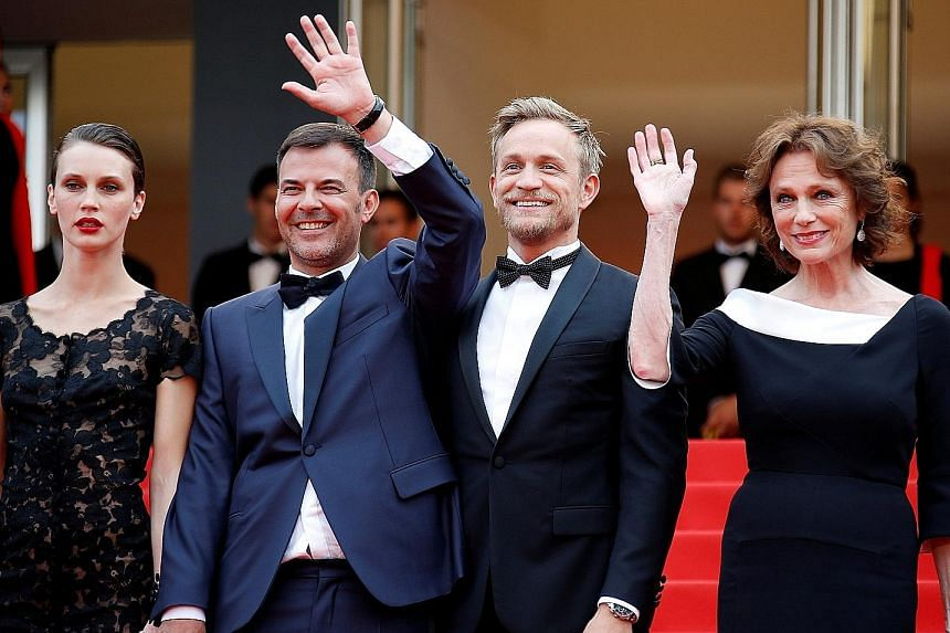 L'Amant Double, directed by Francois Ozon (second from left, with cast members, from left, Marine Vacth, Jeremie Renier and Jacqueline Bisset) is adapted from Joyce Carol Oates' sexual psycho drama, Lives Of The Twins. It is in the running for the Pa