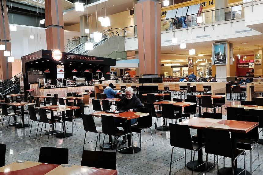 A nearly empty food court in a shopping mall in Milford, Connecticut. The US' first-quarter growth is the weakest since the first quarter of 2016 and follows a robust 2.1 per cent expansion in the fourth quarter.