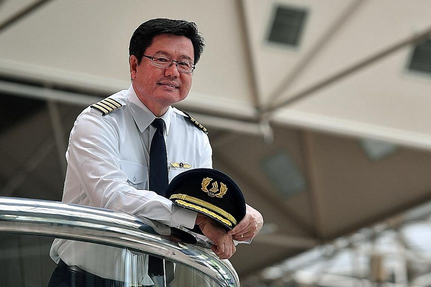 Left and above: Singapore Airlines Captain Gan Kim Hock, 59, was first officer on the first scheduled commercial flight to arrive at Changi Airport. Right: A chartered Singapore Airlines Airbus, Flight SQ100, became the first plane with paying passen