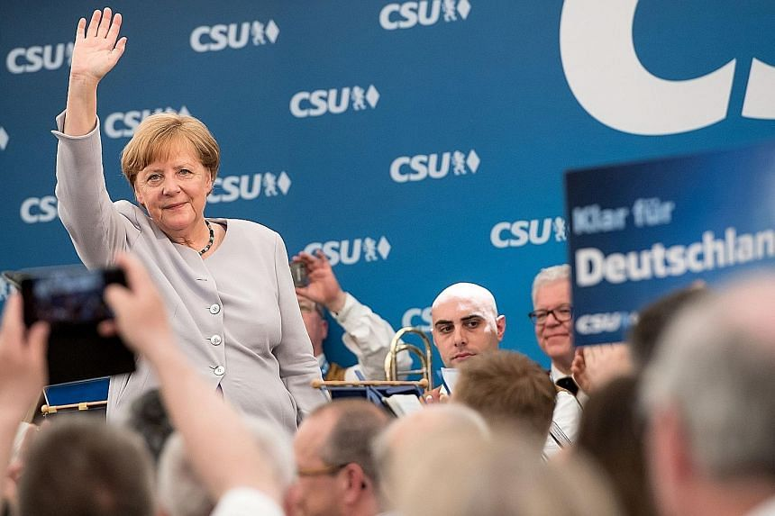 Dr Angela Merkel at a joint campaigning event of the Christian Democratic Union and the Christian Social Union in Munich last Saturday.