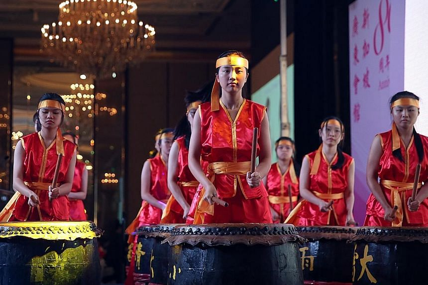 A 24 Festival Drums performance held yesterday to mark the 80th anniversary of the Singapore Kwangtung Clan Association.