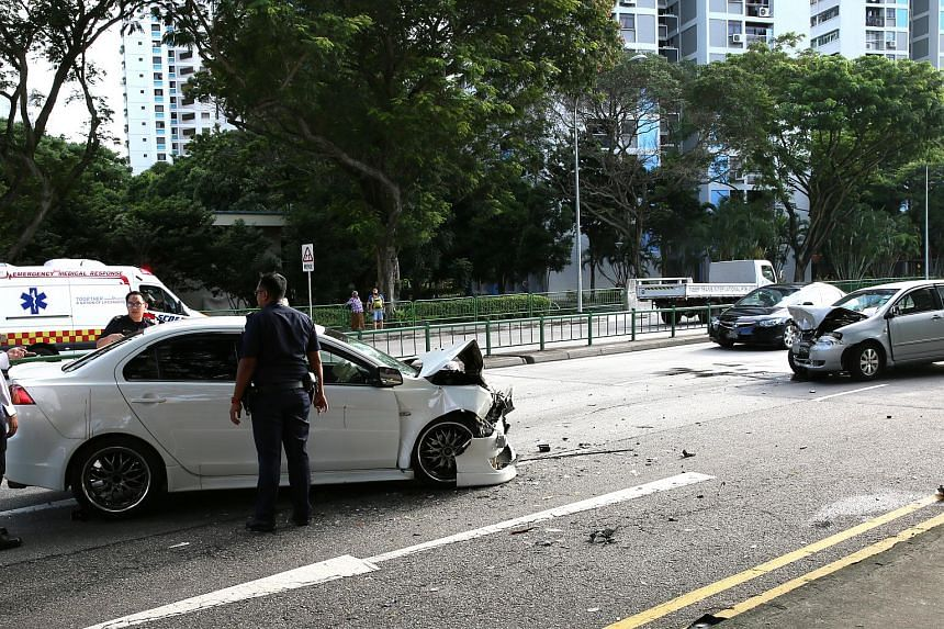 Three people were taken to hospital after two cars collided in Geylang Bahru on Sunday (May 28) afternoon.