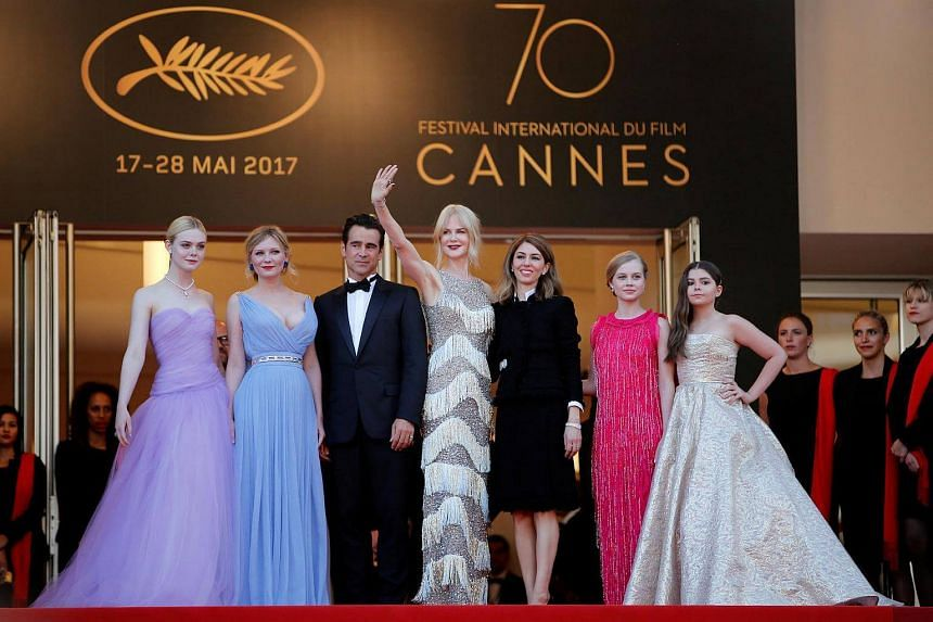 (From left) Actors Elle Fanning,  Kirsten Dunst, Colin Farrell, Nicole Kidman , director Sofia Coppola, Angourie Rice, and Addison Riecke.
