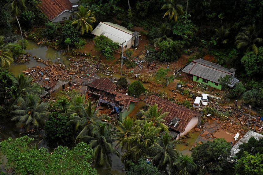Debris of houses is seen after a flood affected a village in Matara, Sri Lanka on May 29, 2017.