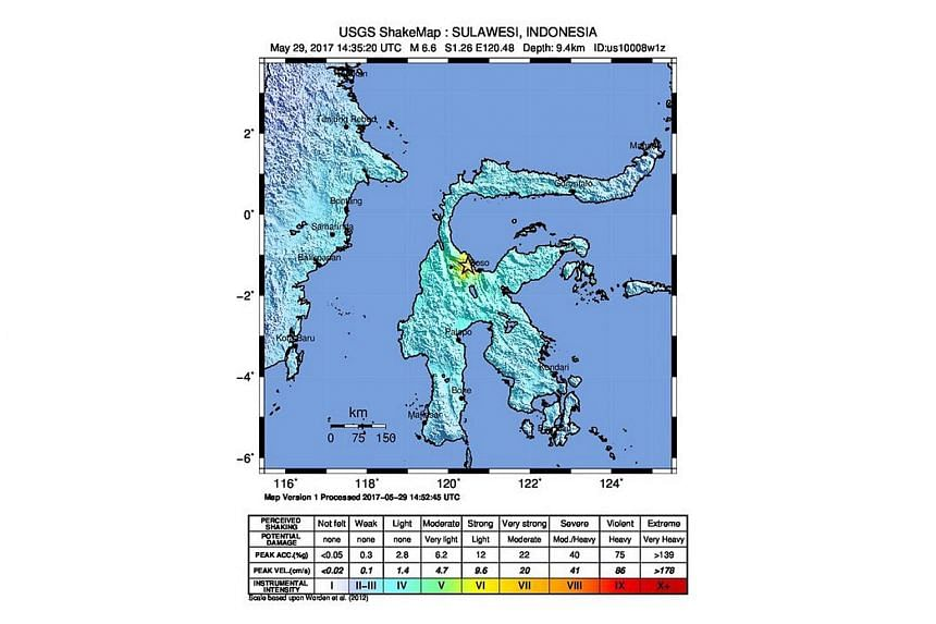 A handout photo from the US Geological Survey on May 29 showing a shakemap of an earthquake epicenterd 80km south-east of the Indonesian city of Palu, Sulawesi.