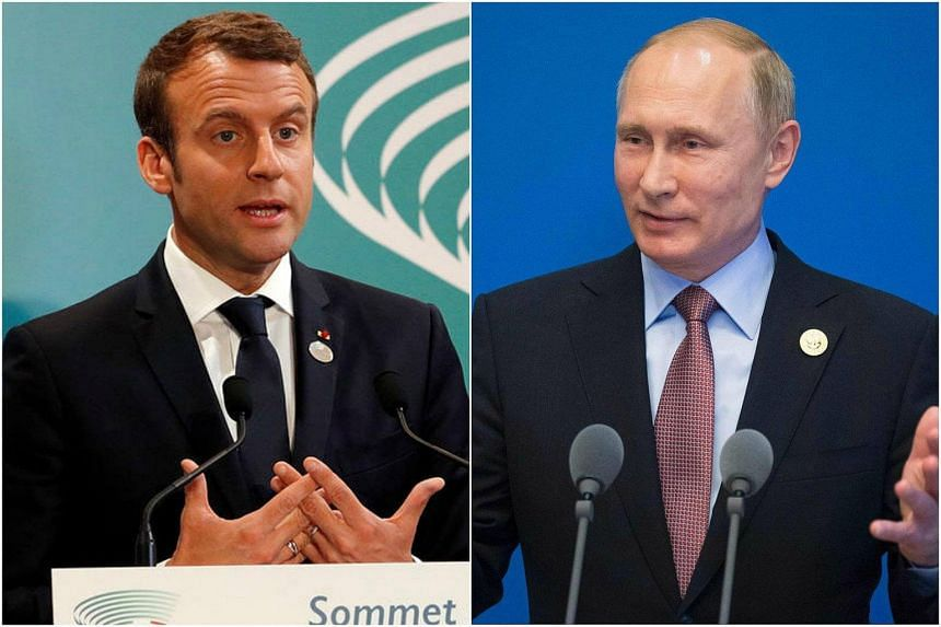 French President Emmanuel Macron (left) and Russian President Vladimir Putin will inaugurate an exhibition marking 300 years of Franco-Russian diplomatic ties.