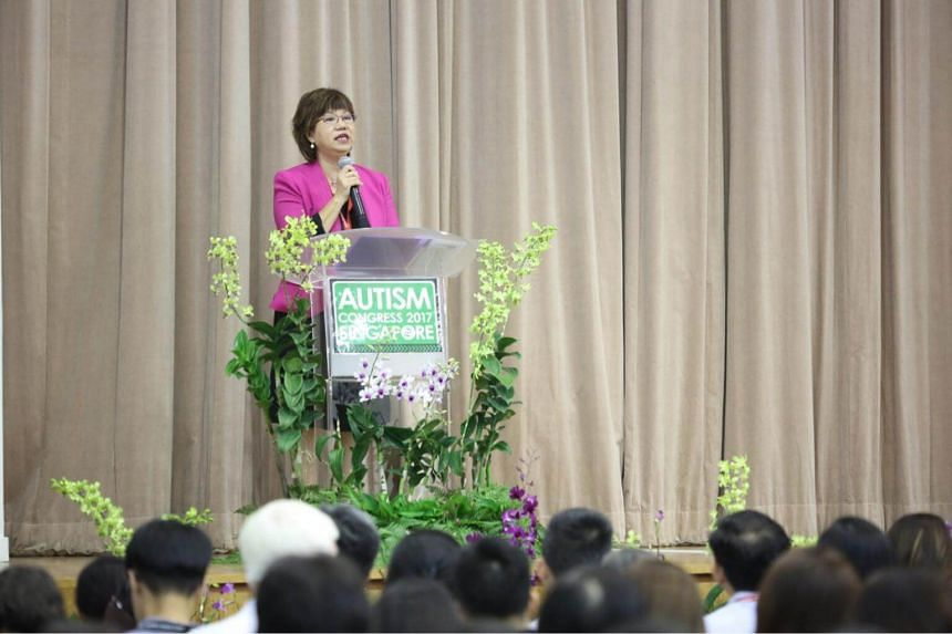 President of the Autism Resource Centre, Ms Denise Phua, speaking at the Autism Congress on May 30.