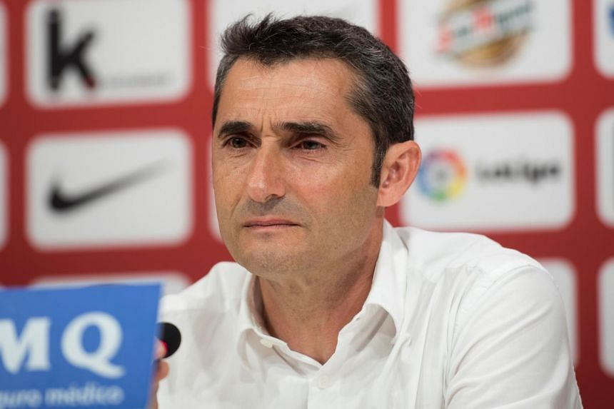 Former Athletic Bilbao's Spanish coach Ernesto Valverde looks on during a press conference held to announce that he was quitting the football club in Bilbao on May 24, 2017.