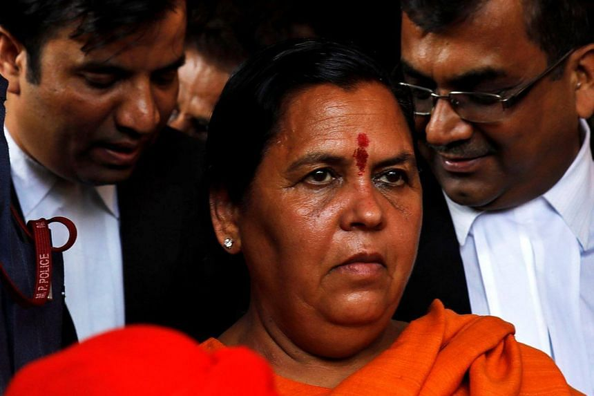 Water Resources Minister Uma Bharti (pictured) and stalwarts of the ruling Bharatiya Janata Party led by L.K. Advani and M.M. Joshi appeared in court in the city of Lucknow to hear the charges.
