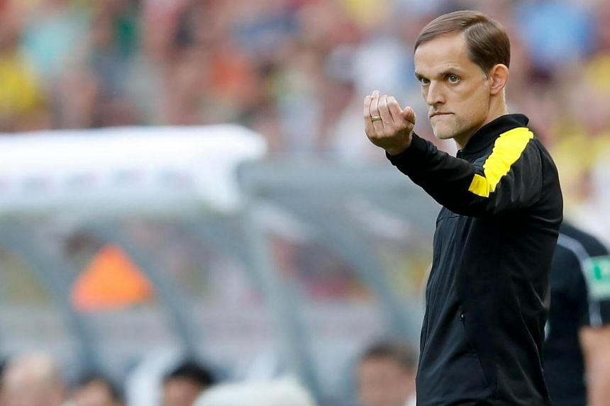 Borussia Dortmund's coach Thomas Tuchel during the German DFB Cup final soccer match between Eintracht Frankfurt and his team at the Olympic Stadium in Berlin on May 27.