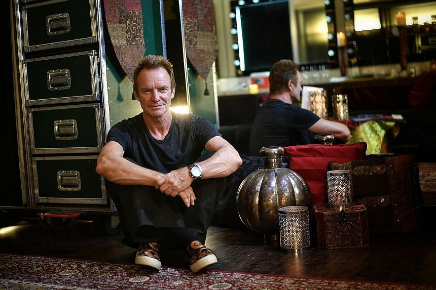Sting's dressing room is a souk-like space with intricate carpets, filigree lanterns and incense in the air.