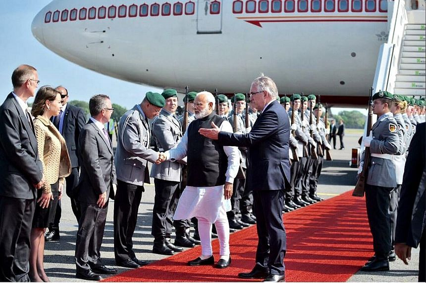 Prime Minister Narendra Modi arriving in Berlin for a two-day visit yesterday. He said India is keen to attract more German companies to invest and improve bilateral relations.