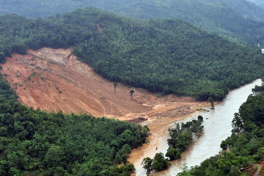 A handout photo made available by the Air Force Media division shows an aerial image of landslide area at Kaluthara 80km from Colombo, Sri Lanka, on May 26, 2017.