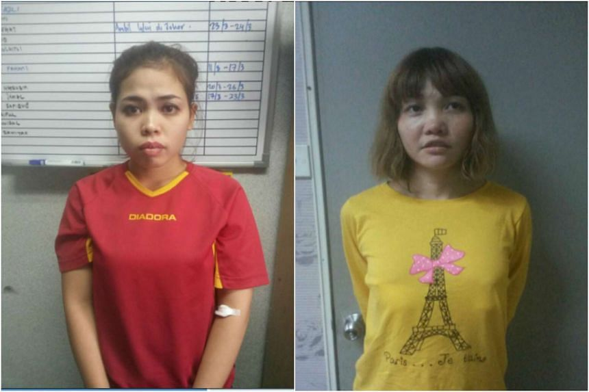 Indonesian Siti Aisyah (left) and Vietnamese Doan Thi Huong have been charged with Kim's murder.